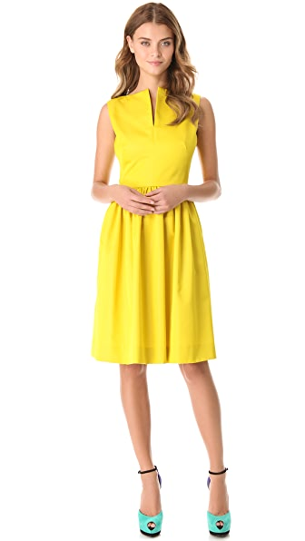 Lela Rose Split Neck Dress with Full Skirt