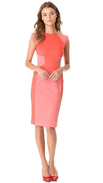 Lela Rose Tonal Block Sheath Dress