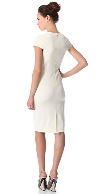 Lela Rose Folded Dress with Chain Necklace