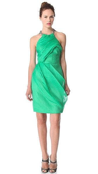 Lela Rose Draped Dress with Chain Fringe
