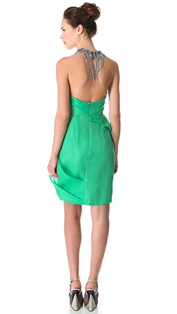 Lela Rose Draped Dress with Chain Fringe