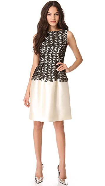 Lela Rose Seamed Dress with Full Skirt