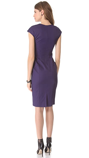 Lela Rose Slit Front Dress with Seaming Detail
