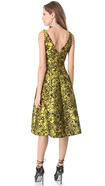 Lela Rose Full Skirt Jacquard Dress