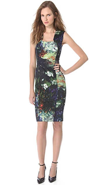 Lela Rose Front Zip Sleeveless Dress