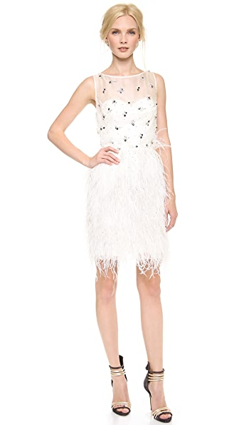 Lela Rose Jeweled Dress with Feathered Skirt