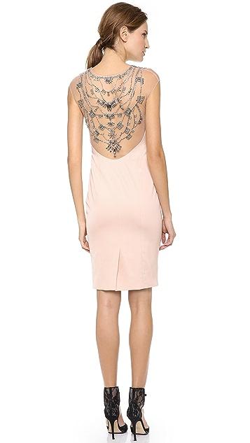 Lela Rose Jeweled Low Back Dress