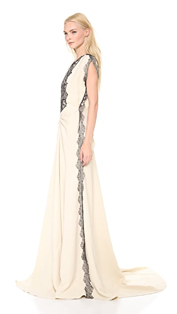 Lela Rose Flutter Sleeve Gown