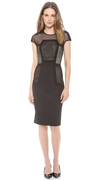 Lela Rose Placed Lace Sheath Dress
