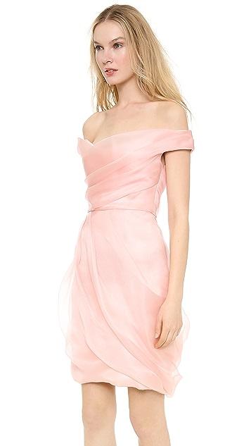 Lela Rose Off Shoulder Draped Dress