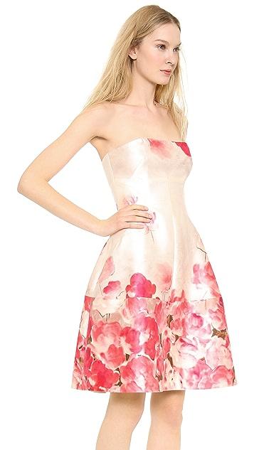 Lela Rose Seamed Strapless Dress