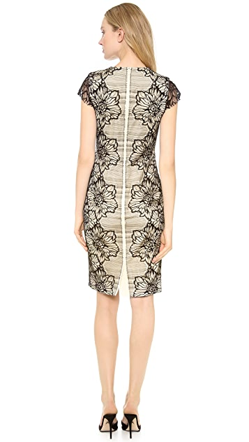 Lela Rose Placed Lace Sheath Dress