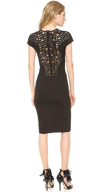 Lela Rose Beaded Yoke Sheath Dress