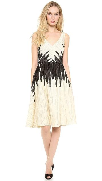 Lela Rose V Neck Dress with Full Skirt