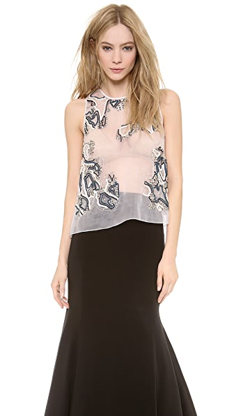Lela Rose Sleeveless Full Back Shell