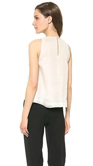 Lela Rose Embroidered Organza Shell Top