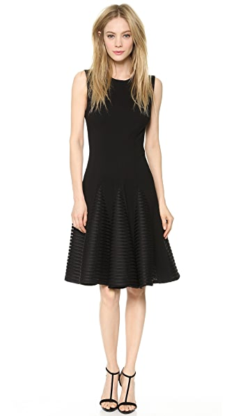 Lela Rose Seamed Dress with Stripe Godets