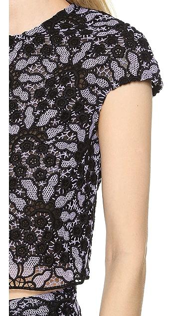 Lela Rose Short Sleeve Cropped Blouse