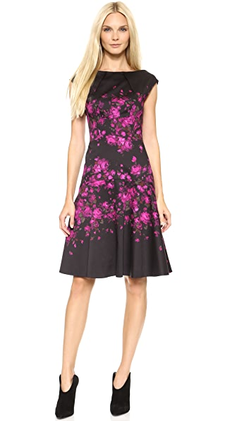 Lela Rose Cap Sleeve Drop Waist Dress
