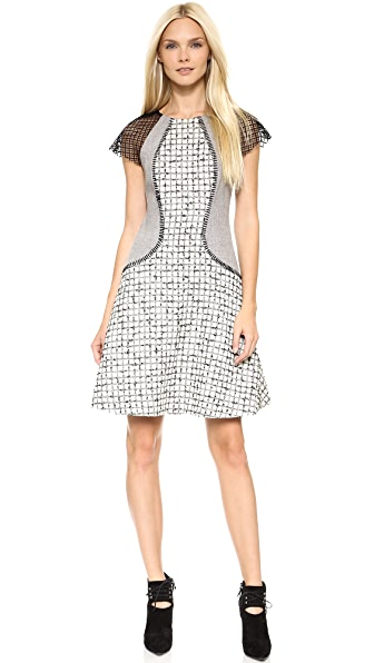 Lela Rose Mixed Fabric Block Dress