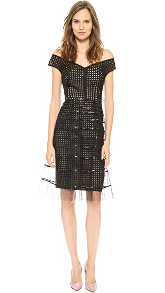 Lela Rose Embroidered Dress with Striped Tulle Overlay