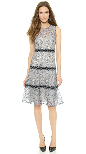 Lela Rose Lace Tier Sheath Dress