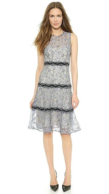 Lela Rose Lace Tier Sheath Dress