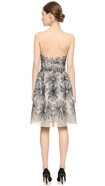 Lela Rose Strapless Lace Dress