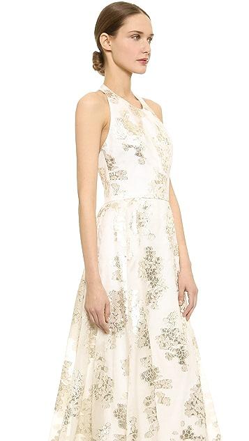Lela Rose Jacquard Halter Gown