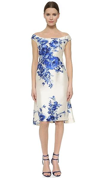 Lela Rose Flounce Back Dress