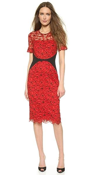 Lela Rose Fitted Lace Sheath Dress