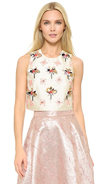 Lela rose embroidered crop top shopbop