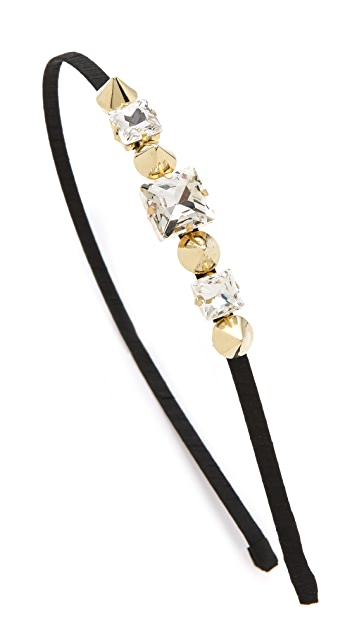 LELET NY Cara Crystal & Stud Silk Headband