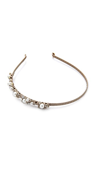 LELET NY Mindy Glass Pearl & Silk Headband