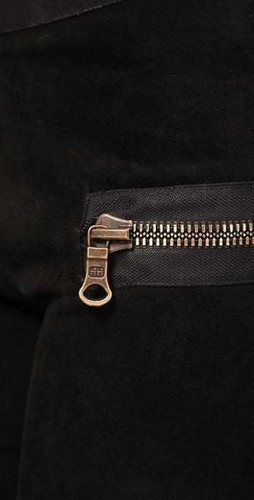 Les Chiffoniers Zip Pocket Suede Leggings