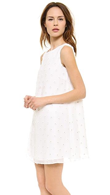 Leur Logette Lame Flower Embroidery Dress