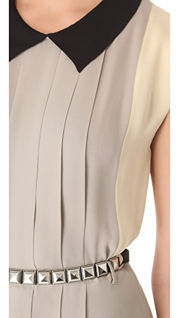 L'AGENCE Colorblock Pleated Dress