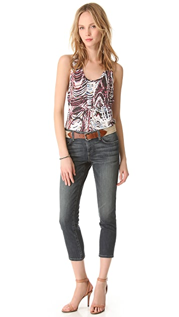 L'AGENCE Cropped Skinny Jeans with Belt