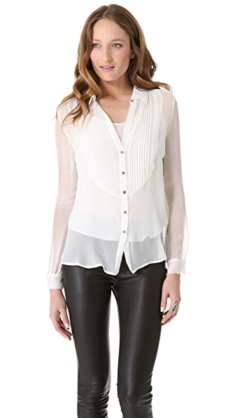 L'AGENCE Pintuck Blouse with Camisole