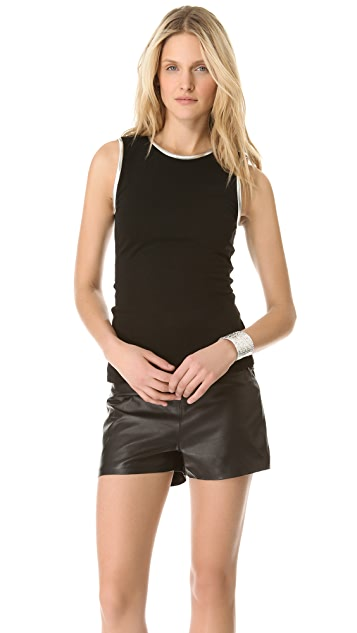 L'AGENCE Sleeveless Tee with Leather Trim