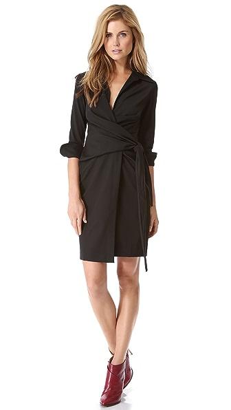 L'AGENCE Long Sleeve Wrap Dress