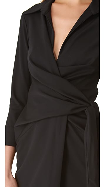 L'AGENCE Long Sleeve Wrap Dress