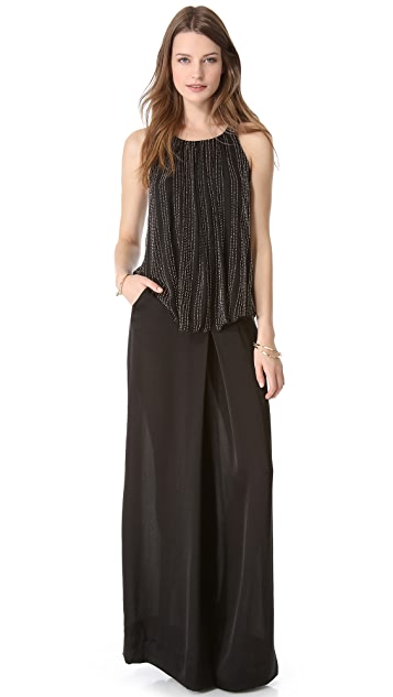 L'AGENCE Shirred Beaded Tank