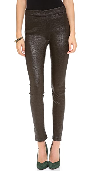 L'AGENCE Stretch Seersucker leather Leggings