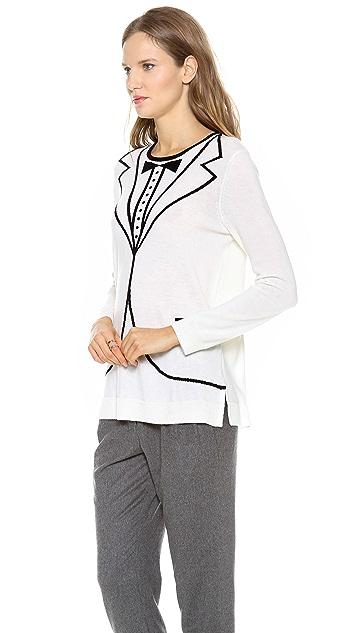 L'AGENCE Tux Intarsia Pullover