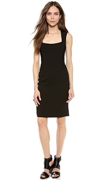 L'AGENCE Square Neck Dress with Ruched Sides