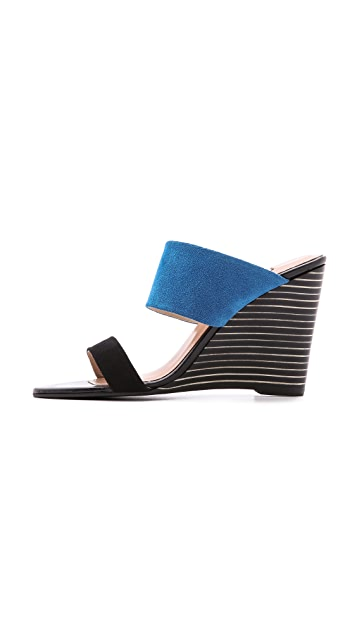 L'AGENCE Two Band Wedge Sandals