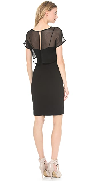 L'AGENCE Spaghetti Strap Dress with Mesh