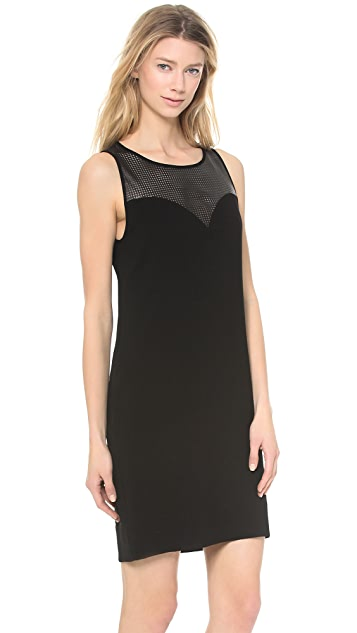 L'AGENCE Sweetheart Dress with Leather