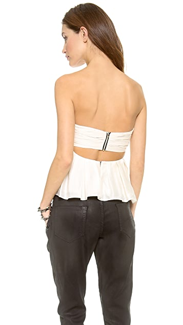 L'AGENCE Pleated Strapless Top